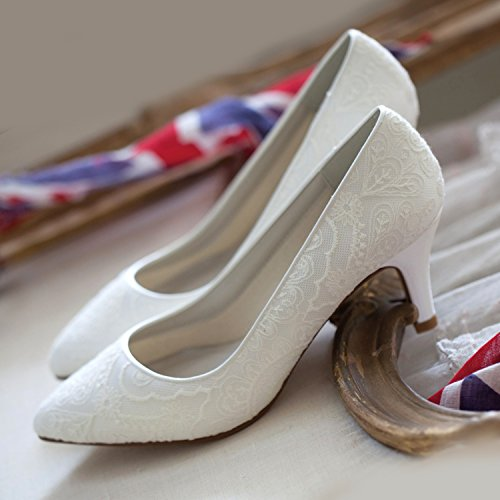 Britt Club Bliss Rainbow Soft 6 ivory Brautschuhe 5 Satin Lace Wedding 37 5 CM BfnW5Sqz