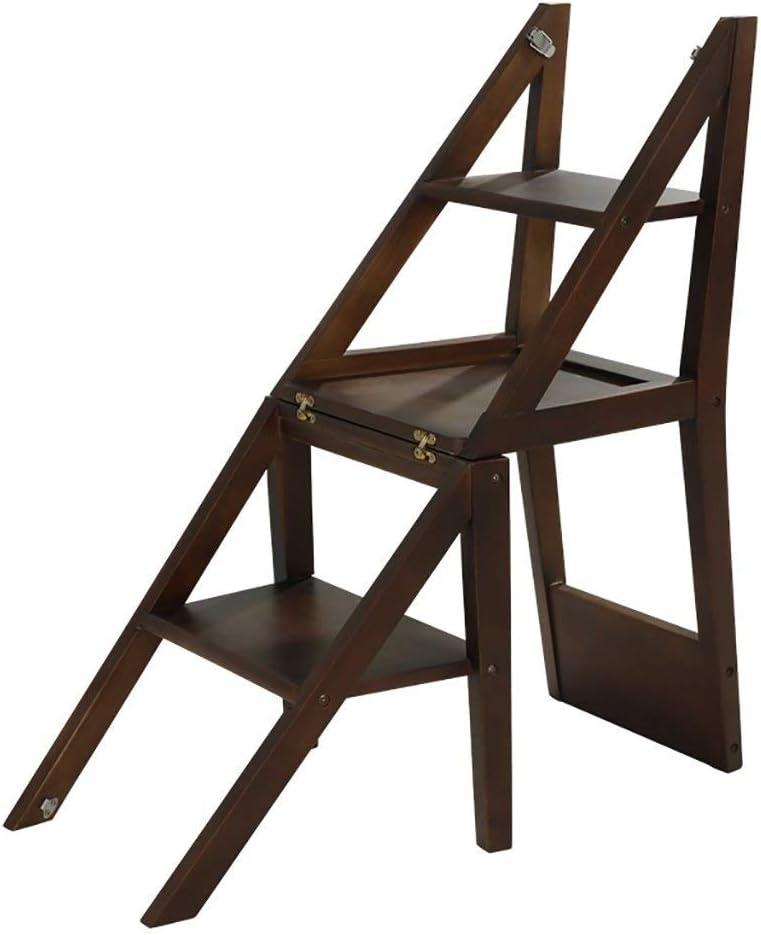 LY-Escalera Madera de múltiples funciones de madera de goma sólida escalera plegable heces Flower Stand de niños de 3 pasos Paso silla de la escala de heces Bastidores (Color : Walnut color):