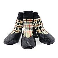 AbcGoodefg Pet Dog Puppy Socks Shoes Boots, Outdoor, Waterproof, Antideslizante, Suela de goma con tiras, Diseño cómodo, L (# 4, Plaid)