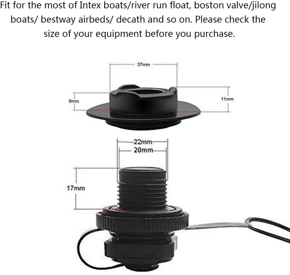 Air Valve With Spiral Cap Rib Screw Air Plug And Cap Twist Lock for Inflatable Kayak Airbeds Boats Ardorlove Durable Air Valve Replacement Raft