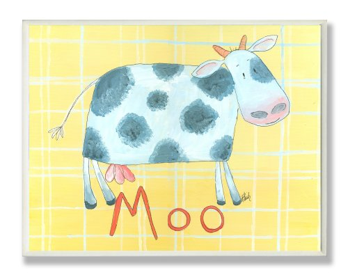 Cow Moo Little (The Kids Room by Stupell Moo Cow on Yellow Plaid Backgrouund Rectangle Wall Plaque)