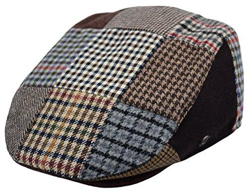 Classic Men's Flat Hat Wool Newsboy Herringbone Tweed Driving Cap (IV1655-Multi Patch, ()
