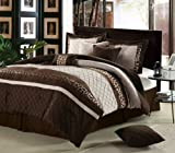 Chic Home Cheetah 8-Piece Oversized and Overfilled Comforter Set, Brown, Queen