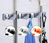 MZ4EVER Mop Broom Holder Organizer, 4 Position 5 Wall Mounted Hooks Garage Storage Solutions (Black)