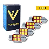 """(4 Pcs) DE3175 3175 1.25"""" 31mm LED Interior Dome Light Map Bulb For Car - Canbus Error Free with 12 Bright White LED Chips 6000K - Voltage Automotive"""