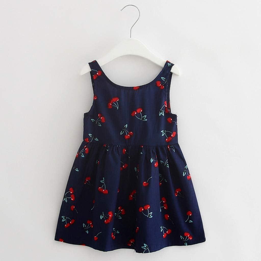 Hukezhu Baby Girl Clothes,Toddler Girls Summer Princess Dress Kids Baby Party Wedding Sleeveless Dresses 2T-7T