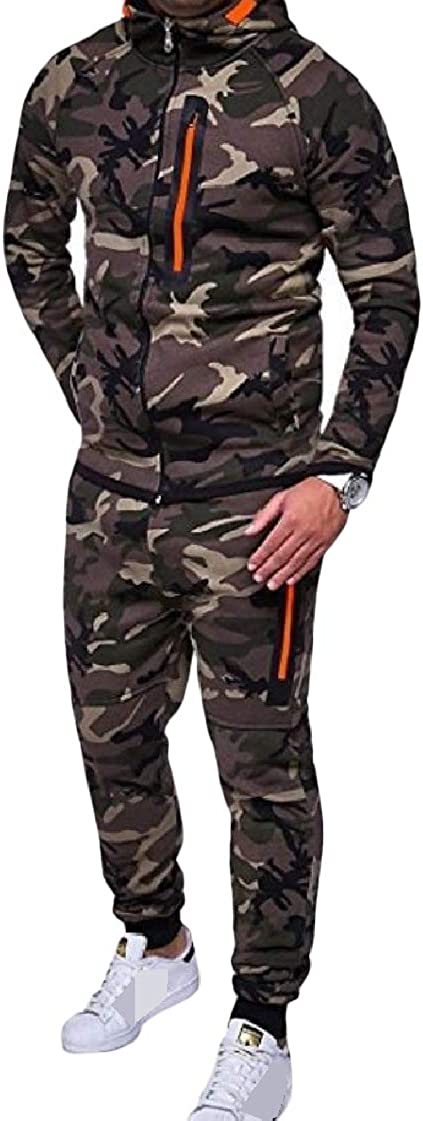 CrazyDay Mens Outdoor Long-Sleeve Zip Pocket Camouflage Color Fashionable Tracksuit