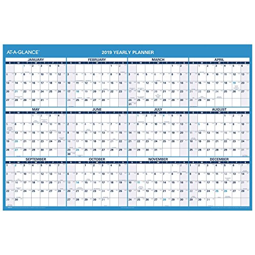 AT-A-GLANCE 2019 Yearly Wall Calendar, Academic and Regular Year, 48