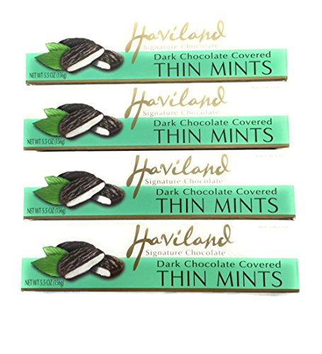 Haviland Signature Dark Chocolate Covered Thin Mints 5.5 Oz (Pack of 4)