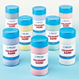 Baker Ross Coloured Sand 350g of 8 Assorted Colours for Childrens Sand Art Crafts & Textured Paint Effects - Pack of 8