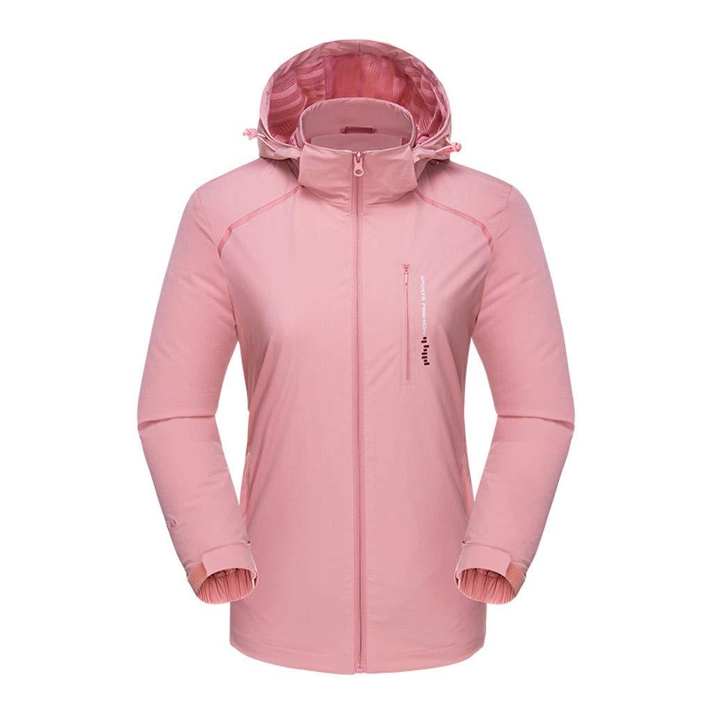 Fitfulvan Womens Lightweight Windbreaker Waterproof Breathable Sports Quick-Drying Outdoor Jacket Active Hoodies Pink