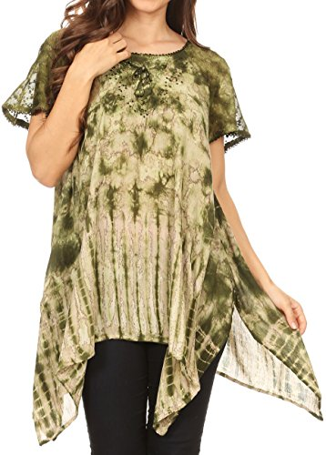 (Sakkas 18721 - Elba Womens Short Sleeves Handkerchief Hem Blouse Top Tie-dye with Sequin - Green - OSP)