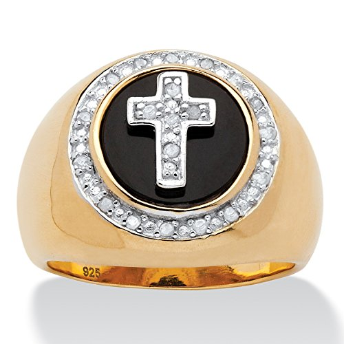 14k Gold Mens Onyx Cross - Palm Beach Jewelry Men's White Diamond and Genuine Onyx 14k Gold over .925 Silver Halo Cross Ring (.10 cttw) Size 9