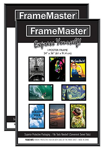 FrameMaster Poster Frames 24x36 Inch (2-Pack); Pre-Assembled with Sturdy MDF Backer Board, Black (Large Picture Frame No Glass compare prices)
