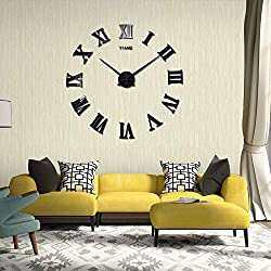 YmissL 3D DIY Wall Clock Large Silent Non Ticking,Battery Operated Clock with with Mirror Numbers Stickers- 36 Inch(1M Wall Watches for Home, Living Room Decor Gift-Black