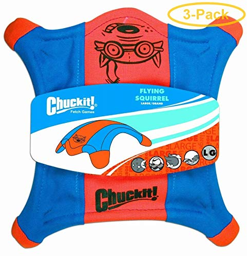 """Chuckit! Flying Squirrel Toss Toy Large - 11"""" Long x 11"""" Wide - Pack of 3"""