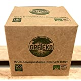 Greeko 100% compostable garbage bags 2.6 gallon (9.8l), 100 count