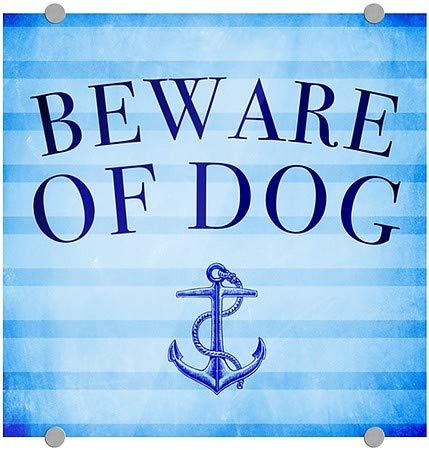 5-Pack Nautical Stripes Premium Brushed Aluminum Sign 16x16 CGSignLab Beware of Dog