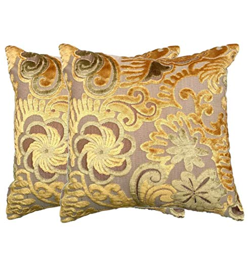 - Tache 2 Piece 18 X 18 Inch Elegant Square Embossed Velvety Luxury Hidden Spring Forest Gold Cushion Throw Pillow Cover Set