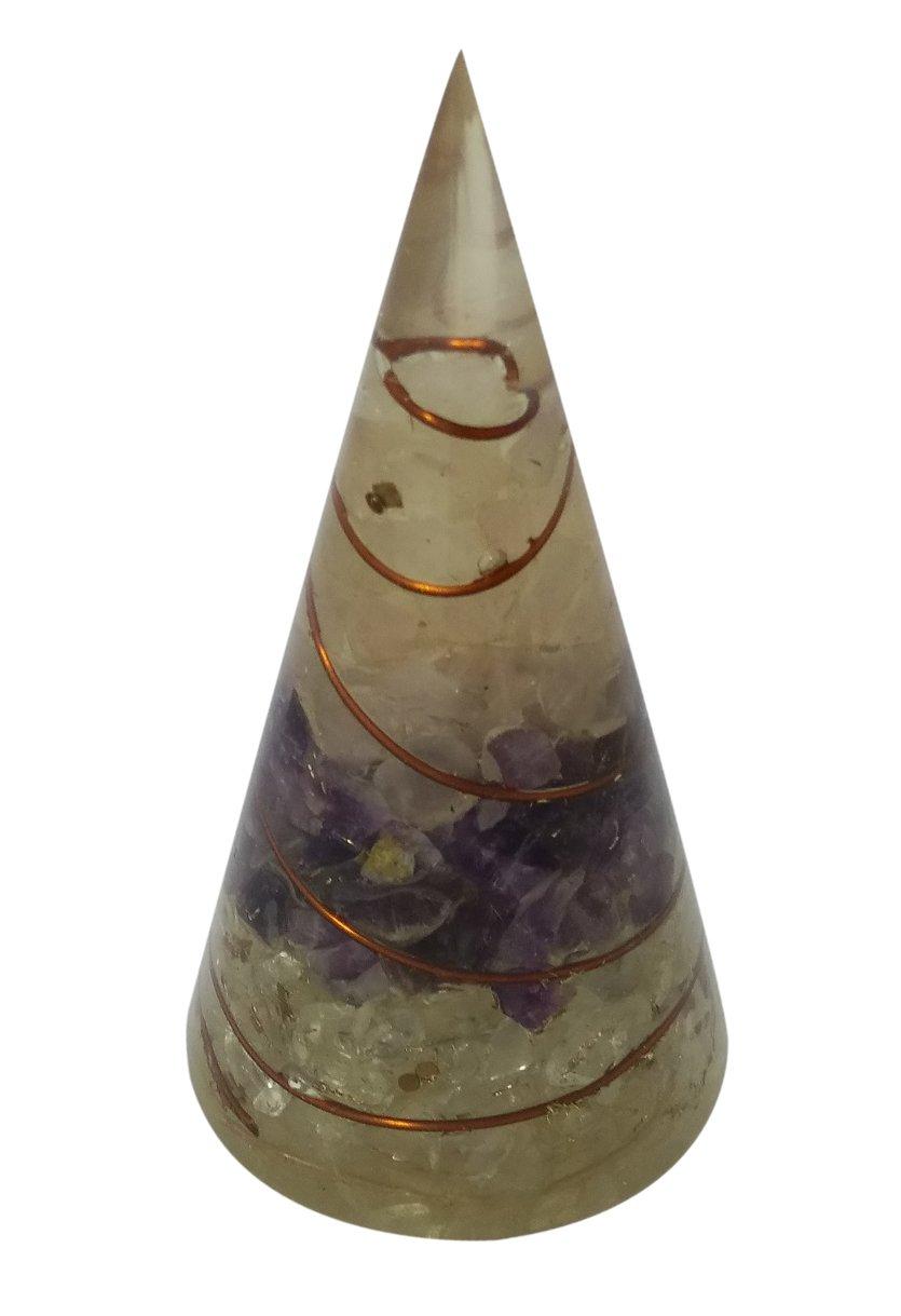 wholesalegemshopローズクォーツ、アメジスト、クリスタルクォーツOrgone円錐形ピラミッド円錐形状アンテナ B0757WR98W