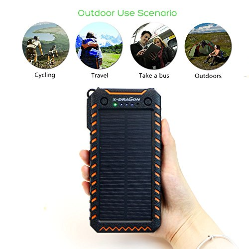 Solar Charger X DRAGON 15000mAh potential Bank portable Dustproof Shockproof 2 USB Solar Panel Battery Charger by would mean of  2 awesome shiny LED lighting for iPhone Samsung Galaxy and significantly more Orange Solar Chargers