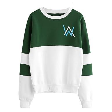 Alan Walker Sudaderas Manga Larga Ocasionales Suéter Patchwork Sweatshirts Tendencia Jerseys Cuello Redondo Camisetas Deportivo para Mujeres y Hombres: ...