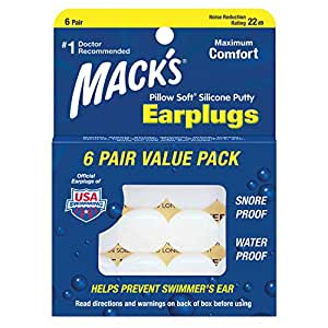 Macks Pillow Soft Mouldable Silicone Ear Plugs (NRR 22) (6 Pairs)