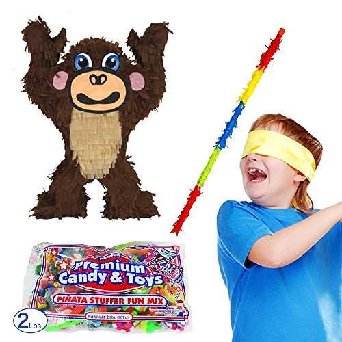 Pinatas Monkey Pinata Kit, Buster Stick, Bandana and 2 lb. Candy Filler