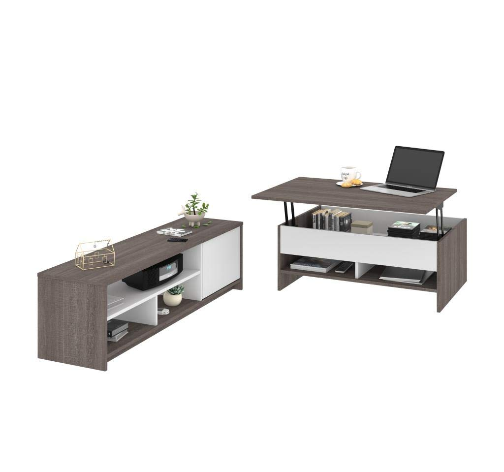 Bestar 2-Piece Set Including a Lift-top Coffee Table and a TV Stand - Krom by Bestar