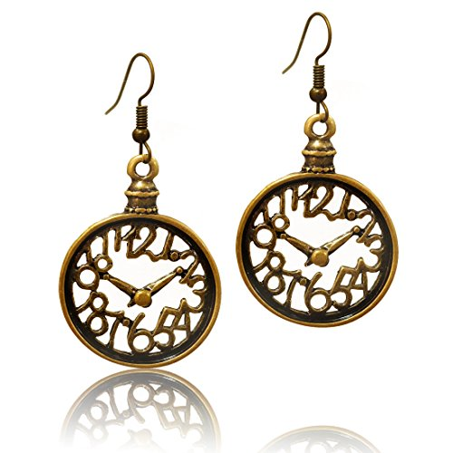 - Stay Calm Talking Tables Fairy Tales - Truly Antique Bronze Numeral Clock Tea Party Steampunk Victorian Dangle Earrings (earring2004)