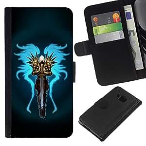 All Phone Most Case / Oferta Especial Cáscara Funda de cuero Monedero Cubierta de proteccion Caso / Wallet Case for HTC One M7 // Angel Wing Warrior