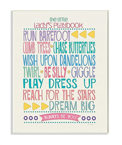 The Kids Room by Stupell Typography Art Wall Plaque, The Little Lady's Playbook, 11 x 0.5 x 15, Proudly Made in USA by The Kids Room by Stupell