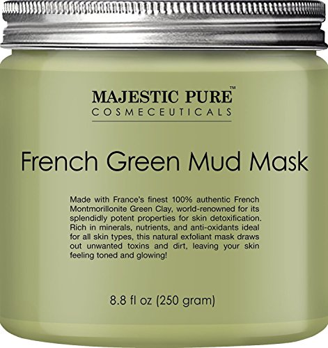 Majestic Pure French Green Mud Mask with Authentic Montmorillonite Green Clay, Exfoliating Facial Mask for Blackhead, Shrinking Pores, Fighting Acne and Toning Skin, 8.8 fl. oz.