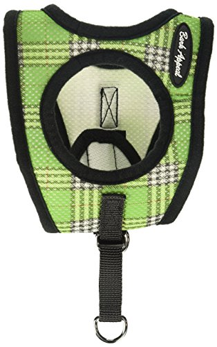Bark Appeal Mesh Step in Harness, Small, Green (Plaid Step)