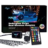 MICTUNING Underbody LED Light Kit, 4 Pcs Car Neon RGB Lighting Strips Sync with Music Dual Wireless Remote Control