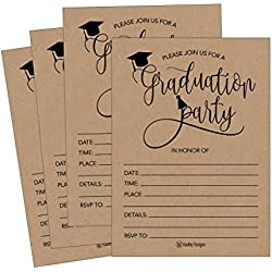 25 Rustic 2018 Graduation Party Announcement Invitations For College, High School, University Grad Celebration Invite Cards, Black and Gold Fill In Invite For Graduation Party Decorations Supplies