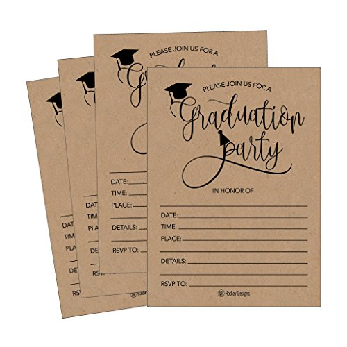(25 Rustic 2018 Graduation Party Announcement Invitations For College, High School, University Grad Celebration Invite Cards, Black and Gold Fill In Invite For Graduation Party Decorations)