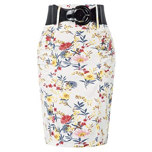 28 Color Womens Stretchy Pencil Skirt Side Pleated Business Skirts with Belt KK271