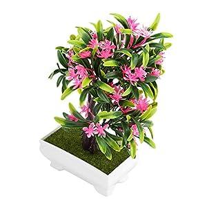 GLOGLOW Artificial Bonsai Flower Pot Fake Silk Flower Tree Plant for Wedding Holiday Home Decor 14
