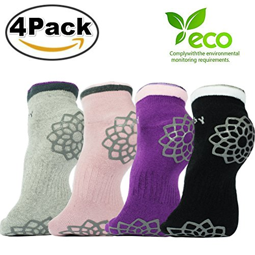 DubeeBaby Yoga Socks, Women's Non Slip Anti-Skid Pilate Grip Socks(SUN SERIES) (Sahasrara Chakra 4 Colors)