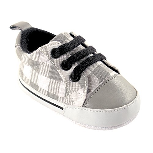 Luvable Friends Boy's Print Canvas Sneaker (Infant), Gray Plaid, 0-6 Months M US Infant (Footwear Canvas Plaid)