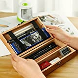 Frjjthchy Retro Wood Hinged Box Multifunction Pencil Holder Rectangular Art Tool Supplies Storage Case