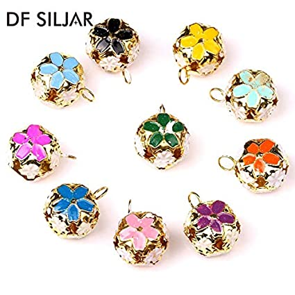 Calvas 30pc//lot 14 18mm Jewelry Jingle Small Bells Metal Bell Beads Christmas Decoration Gift DIY Necklace Bracelet Findings Y1643 Color: Orange, Item Diameter: 14mm
