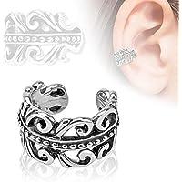 Covet Jewelry Carved Swirls Rhodium Plated Brass Non Piercing Ear Cuff