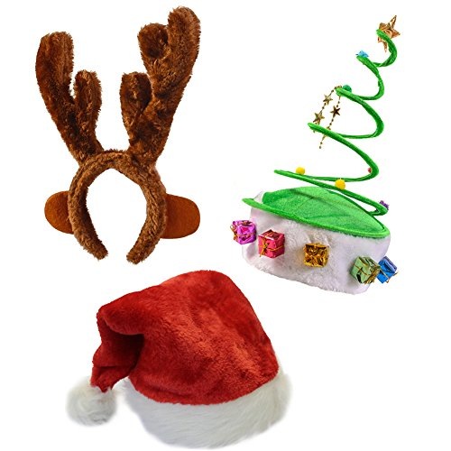Christmas Hats - SET OF 3 Christmas Hats-Santa Hat, Elf Hat, Coil Santa Hat - Funny Party Hats (Style 9)