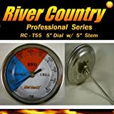 "5"" River Country (RC-T5L) Adjustable BBQ Grill Thermometer 50 to 550 F (Long Stem)"