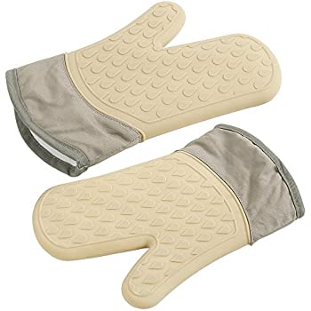 ELFRhino Silicone Heat Resistant Oven Gloves Mitts Waterproof Potholder Gloves Wrist Protection Non-slip Kitchen Gloves for Cooking Pot Holder Grilling BBQ Baking Khaki
