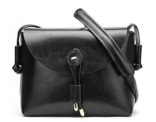 La primavera y el verano, los bolsos de cuero simple de hombro Pequeño Paquete Cuadrado Cowhide sólida cubierta de pan suave Bolso Messenger Retro Negro