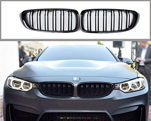 GY Glossy Black ABS Front Replacement Kidney Double-Slats Grille For BMW 4 Series F32 F33 F36 M3 F80 M4 F82 F83 2013-2018