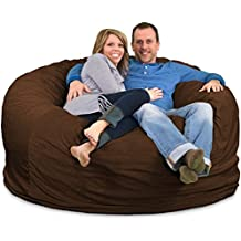 Ultimate Sack 6000 Bean Bag Chair: Giant Foam-Filled Furniture - Machine Washable Covers, Double Stitched Seams, Durable Inner Liner, and 100% Virgin Foam. Comfy Bean Bag Chair. (Brown, Suede)